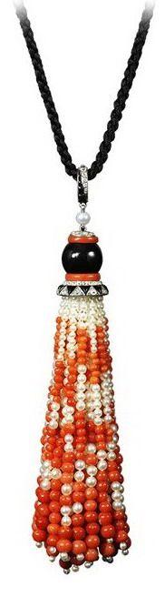 Cartier Art Deco Pendant,  Platinum, yellow gold, enamel, onyx, natural pearls, coral, diamonds.