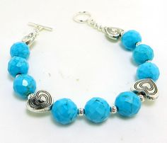 Turquoise Blue Magnasite Faceted Bead and SP Heart by BeadsGalore2, $15.00