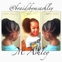 cornrows and a side puff Childrens Hairstyles, Cute Little Girl Hairstyles, Baby Girl Hairstyles, Natural Hairstyles For Kids, Princess Hairstyles, Natural Hair Styles, Natural Beauty, African Braids Hairstyles, Braided Hairstyles