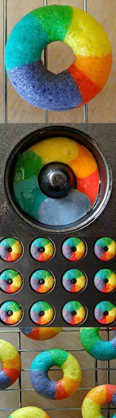 Recipe for: Mini Vanilla Rainbow Donuts - MUST TRY!