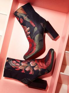 Stratford Heel Boot | Floral designed fabric boot.    * Rounded toe.   * Stacked heel.   * Inside zip closure for an easy on-off.