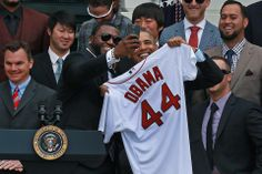 """David Ortiz took a """"selfie"""" with President Barack Obama after presenting him with a jersey on Tuesday."""