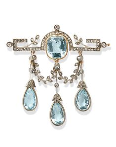 Antique Brooches, Antique Jewelry, Vintage Jewelry, Aquamarine Jewelry, Diamond Jewelry, Diamond Necklaces, Art Deco Jewelry, Jewelry Design, Jewelry Accessories