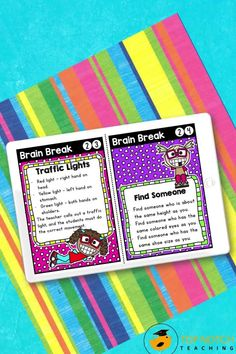 We know the importance of brain breaks to help students focus and learn. Don't waste time looking for fun and effective brain break activities. Just use these printable Brain Break Cards and fill your teacher bag of tricks with brain breaks your students will love. These 60 brain break activities were designed to help students take a short mental break, regain focus, and re-energize to get them back on track for learning. The perfect addition to any classroom management system! Teaching 5th Grade, 5th Grade Classroom, Teaching Reading, Learning, Teacher Bags, Your Teacher, Mental Break, Spelling And Grammar, Comprehension Strategies
