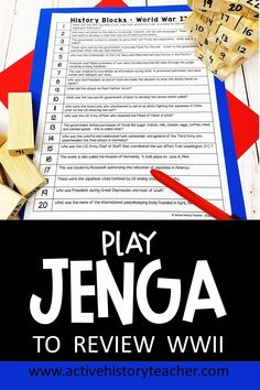 In this activity, students review WWII by playing Jenga!  This is an all time student favorite game.  Easy prep, tons of fun.  Great for End of Course review prior to exam time, too!  #activehistoryteacher #WWIIreviewgame