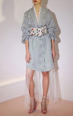 Sandra Mansour Mikado belt $940, Woeven strippend dress $750 on Moda Operandi