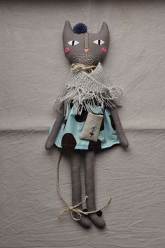 Grey cat with embroidered face - handmade rag cat doll.