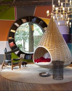 24 Bookshelves Design That Will Impress You. Can I please have this one? Or at least the chair/cave/hammock thing?!