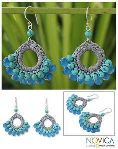 Hand Crocheted Calcite Earrings - Mekong Blue | NOVICA