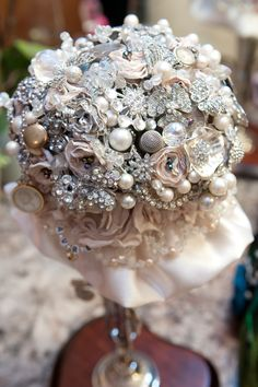 Brooch bouquet made with family heirlooms.