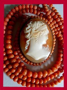Antique coral and cameo necklace from the Talya D Collection.