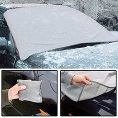 U-smile Windshield Sun Shade Snow Cover Protector Anti-Frost Anti-Icing Keep Car Cool Window Sunshades Fits Protective Windscreen Magnetic Rear Black Blocker File