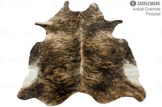 "Saddlemark Medium Brindle Premium Cowhide Rug #1114 | 7'-7"" x 6'-1"""