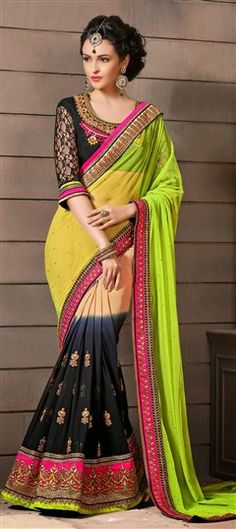 160897 Multicolor  color family Embroidered Sarees, Party Wear Sarees in Faux Georgette fabric with Lace, Resham, Stone work   with matching unstitched blouse.