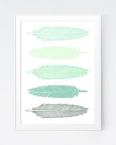 Feathers Print Mint Green Feathers Wall Art Print by SutilDesigns