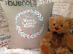 It is so easy to decorate a cute DIY decorative pillow for your home decor! This one was made with Canvas Corp burlap, a little waxed cord, and some @tatteredangels paints. Just use a stencil to sponge on the paint. So fab!