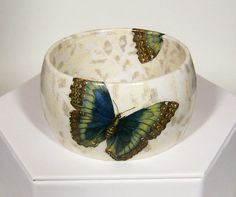 SALE ... Butterfly Decoupage Collage Acrylic Bangle OOAK by uniquejewelrybynan, $50.00