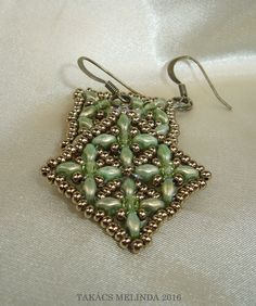 golden green superduo beaded earrings by Melinda