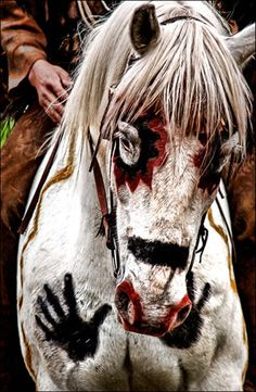 Right/left hand prints were outlined upon the horse's chest, which showed that he'd knocked down an enemy.  Kiowa War Paint on the War Horse -  By hans proppe  Diviant Art