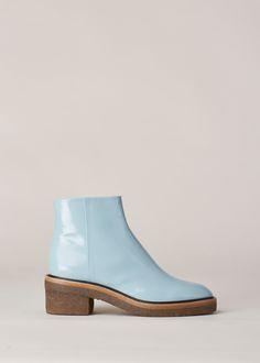 Dries Van Noten Chunky Heel Zip Boot (Light Blue)