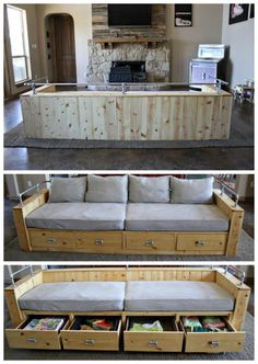 Modern Wood Storage Sofa diy sofa with crib mattress cushions and bed pillows fr. Modern Wood Storage Sofa diy sofa with crib mattress cushions and bed pillows free plans by ana-whi Diy Sofa, Diy Storage Couch, Diy Daybed, Diy Furniture Couch, Pallet Furniture, Wood Storage, Dyi Couch, Cheap Furniture, Storage Boxes
