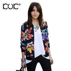 4a42c626aee Kuk Bomber Jacket Women Basic Coats Chaqueta Mujer Casaco Feminino Vintage  Floral Print Zipper Outerwear Autumn