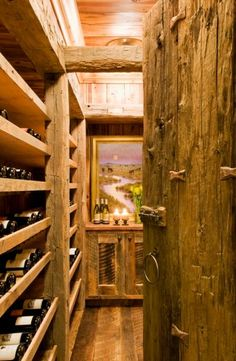 Refined wine wooden wine cellar at the family ski home