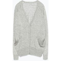 Zara Knit Cardigan With Pockets ($23) ❤ liked on Polyvore featuring tops, cardigans, jackets, sweaters, grey marl, gray knit cardigan, knit tops, pocket tops, knit cardigan and zara cardigan