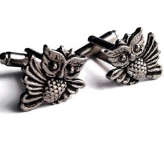 SALE Men's Owl Cufflinks, New Handcrafted Pair Silver Animal Flying Bird Cuff Links- Guys Gift Prom Wedding Groom