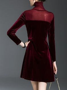 Mini Velvet Fit and Flare Dress , Black Tshirt Dress, Gray Dress, Fit Flare Dress, Fit And Flare, Panel Dress, Lingerie Dress, Casual Dresses, Velvet, Mini