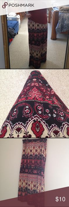 Maxi skirt EUC beautiful, richly-colored maxi skirt.  Burgundy and dark pink mixed with black and cream, lightweight for Spring! AB Studio Skirts Maxi