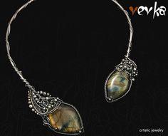 Escape From a Maze Necklace  Silver and Labradorite by Vevka