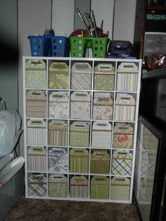 use shoe rackand make your own boxes covered with paper. can match decor