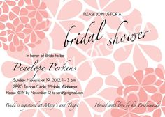 Customizable Printable Light Coral Pink Flower Pom Bridal or Wedding Shower Invitation by PartyProject, $12.50 (Available in 35 different color options) (Print as many as you need!)
