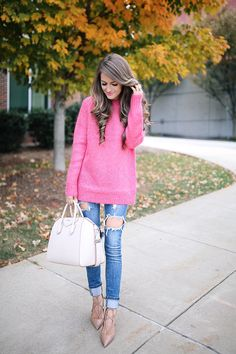 hot pink sweater , also love this one  // Charlotte Russe ripped jeans, similar HERE  & HERE   Givenchy handbag  // Aquazu...