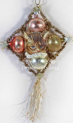 Kitty with Lace Collar on Glass and Tinsel by DresdenStarOrnaments