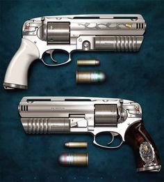 454 Magnum Revolver If only this were real. It's actually an illustration from artist Oscar Chichoni and apparently was a weapon in the video game Just Caus