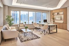 I really enjoyed the idea of combining an office with a more open, inviting space. Office Ceiling Design, Interior Design Office Space, Office Cabin Design, Showroom Interior Design, Home Office Decor, Creative Office, Local Commercial, Luxury Office, Architecture Office