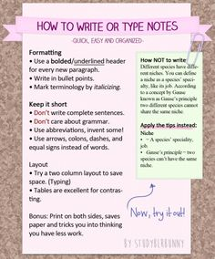 A tutorial on note takingI love taking notes this way and this guide is a graphical representation on the tips from my old text post. It's useful when jotting down a lecture, but also for creating study guides. Back To School Tips For Students School Life Hacks, Life Hacks For School, School Study Tips, College Study Tips, Back To School Tips, School Ideas, College Notes, College Hacks, School Notes
