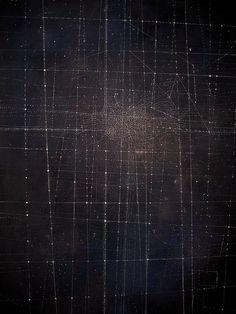 Emma McNally. c40.  drawing, white on dark ground  85cmx120cm