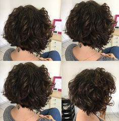 Cute Brunette Bob with Scrunched Waves A layered bob is undoubtedly one of the best short hairstyles for thick wavy hair. If you have curly hair, you are lucky, because with a proper haircut you only need a tousle, and your hairstyle is ready. Short Hairstyles For Thick Hair, Haircut For Thick Hair, Short Bob Haircuts, Short Hair With Layers, Curly Bob Hairstyles, Short Hair Cuts, Braided Hairstyles, Short Permed Hair, Wedding Hairstyles