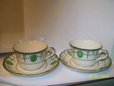 ANTIQUE GREEN ROYAL DOULTON COUNTESS CUPS & SAUCERS - c1908 - ART NOUVEAU