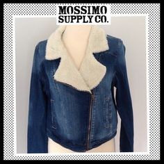 dbe29e79385 Shop Women s Mossimo Supply Co. Blue size XXL Jean Jackets at a discounted  price at Poshmark. Description  MOSSIMO SUPPLY CO. Denim Moto Jacket with  Faux ...