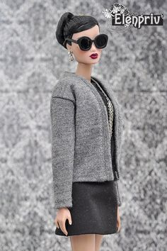 ELENPRIV gray jersey cardigan for Fashion Royalty FR2, NuFace, Barbie dolls #Elenpriv