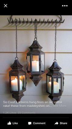 Old rake with hanging lanterns