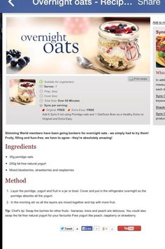 Overnight Oats / Magic Oats Slimming World.really yummy Slimming World Breakfast, Slimming World Recipes Syn Free, My Slimming World, Slimming World Overnight Oats, Syn Free Breakfast, Breakfast Ideas, Sliming World, Wrap Recipes, Uk Recipes