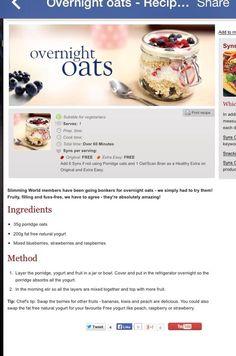 Overnight Oats / Magic Oats Slimming World