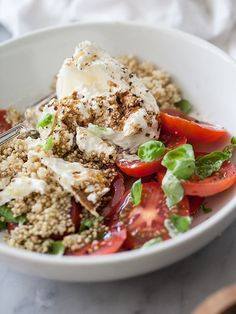 Quinoa and Burrata Caprese Salad is creamier cheese take on the classic #recipe on foodiecrush.com #caprese #quinoa #burrata