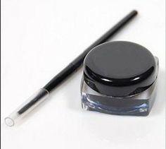 Pro Waterproof Eye Liner Eyeliner Gel Makeup Cosmetic + Brush Blac 1 Set U