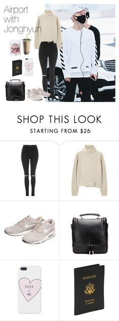 """""""Airport with Jonghyun"""" by theycallmebeatriz ❤ liked on Polyvore featuring Topshop, Proenza Schouler, NIKE, Royce Leather, kpop, shinee, airportstyle, jonghyun and kimjonghyun"""